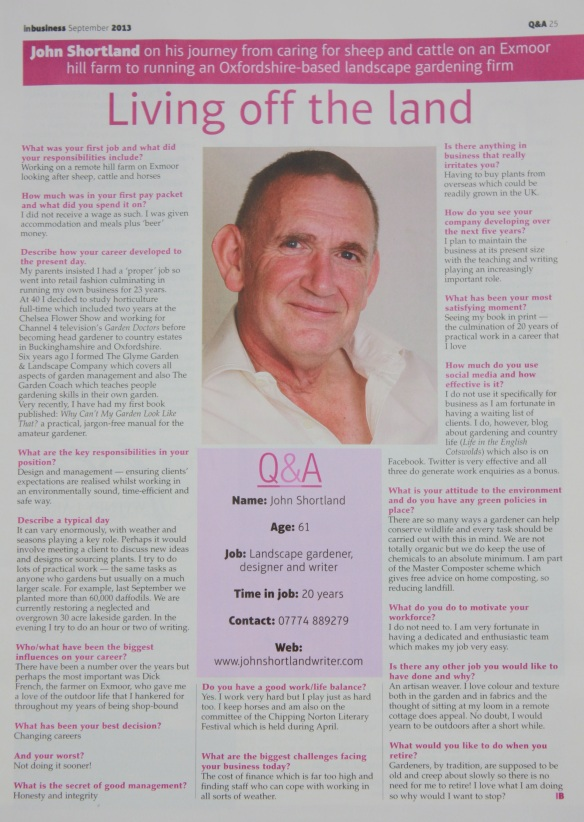Interview/Profile In Business Magazine, Oxford Times, September 2013