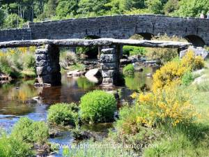 The clapper bridge with the 'new' bridge behind built in 1780