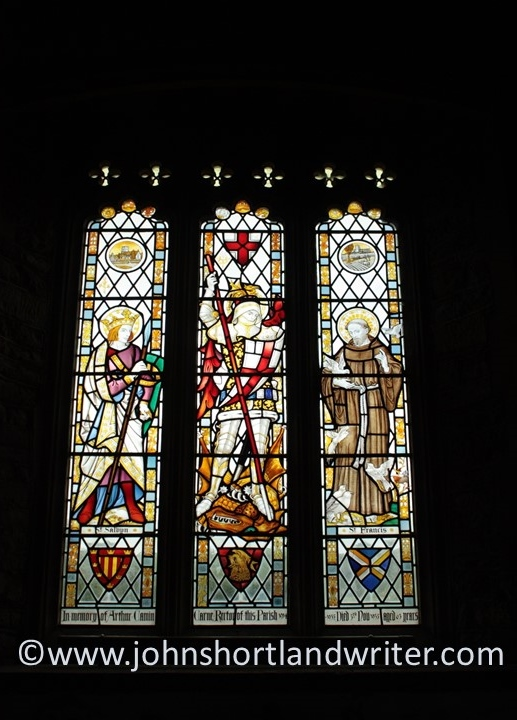 St Salvyn depicted in the left panel of the east window